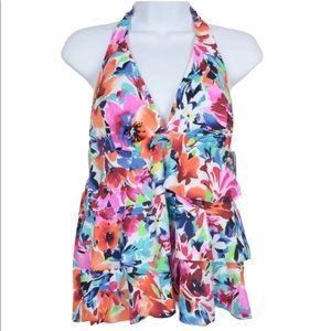 Swim Solutions Tankini Halter Bust Support Floral